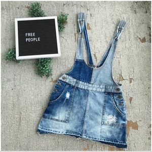 Free People Patchwork Denim Overall Dress